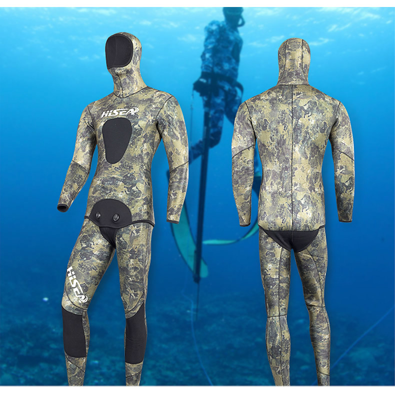 Hisea seac 3.5mm men neoprene diving suit Split wetsuit Fishing and hunting clothing Siamese CR inside material smooth skin