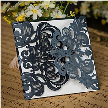 25pcs Gold Black White Navy Blue Grey Wedding Party Invitation Card