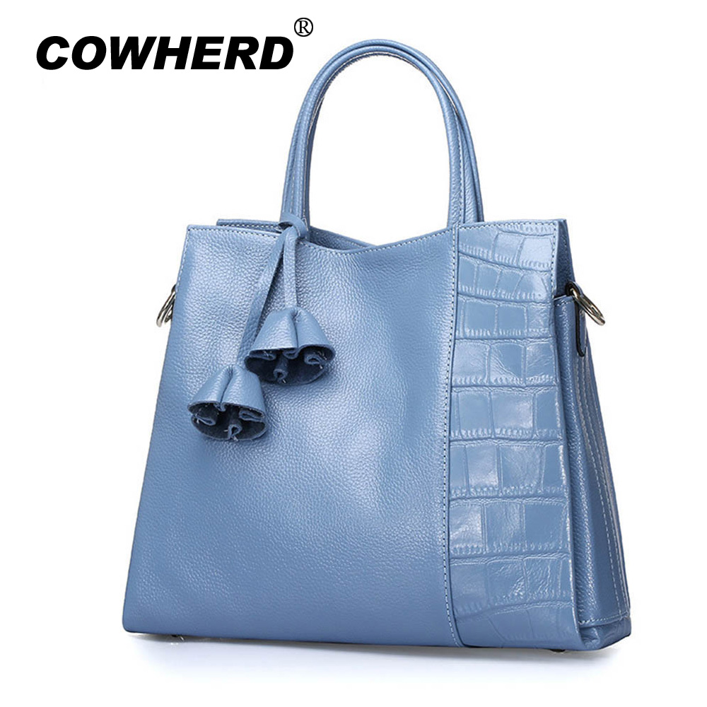 100% genuine cow leather bag Women's messenger bags tote handbags women famous brands high quality shoulder bag lady gift 2018 soft genuine leather bags handbags women famous brands platband large designer handbags high quality brown office tote bag