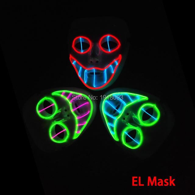 Som ativa el fio horror máscara máscara de halloween glowing sorriso el fio festival led novelty iluminação glowing máscara para o partido decoração