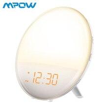 Mpow цифровой светодиодный Wake-Up Световой будильник Sunrise Simulation Dual Alarm 6 натуральный звук радио Повтор Функция Reloj Despertador