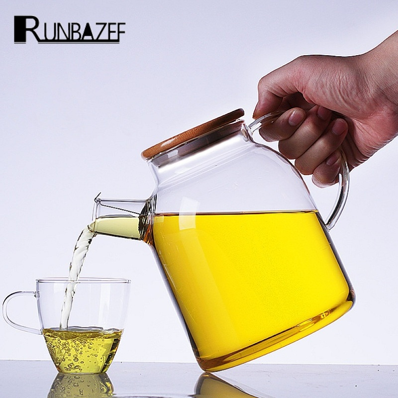 RUNBAZEF Manufacturer Promotions New Large Capacity High Temperature Water Glass Teapot Thick Bamboo Cover Tea Camellia