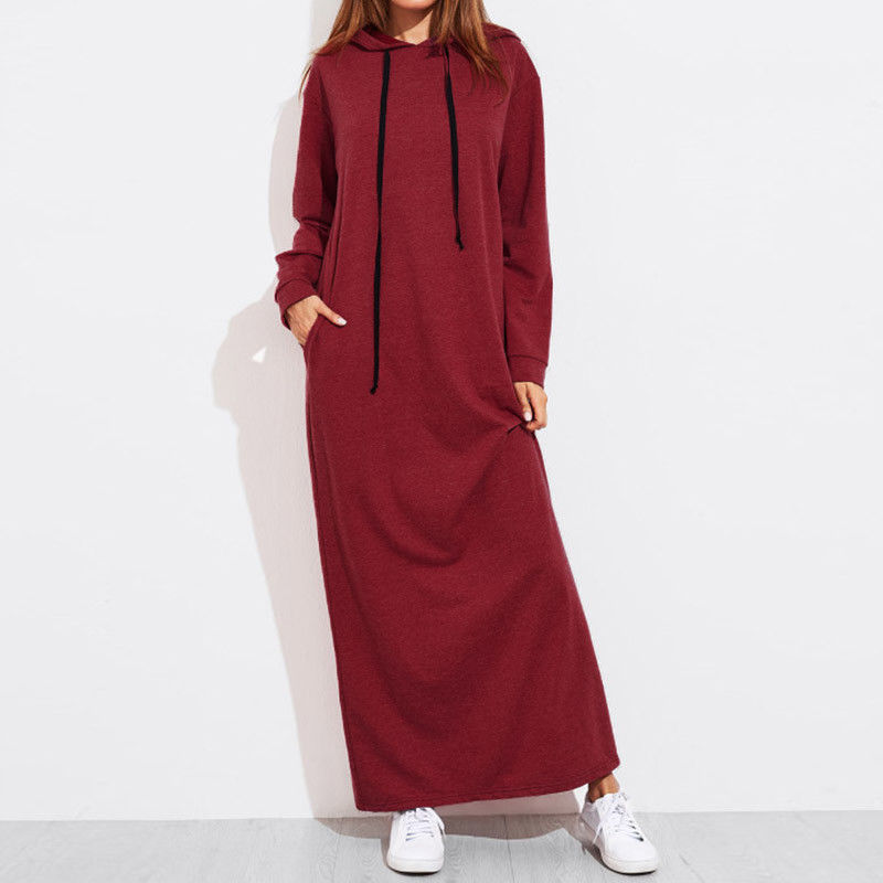 Spring Sexy Complex Autumn Women Sweatshirt Hoodies Solid Hooded Dress Tops Fashion Casual Long Hoodie Pullover