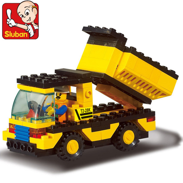 9500 Sluban Dumper Dump Truck Model Building Blocks Enlighten Construction DIY Action Figure Toys For Children Compatible Legoe 20 sets simcity human model building blocks assemble classic enlighten construction figure toys for children compatible legoe