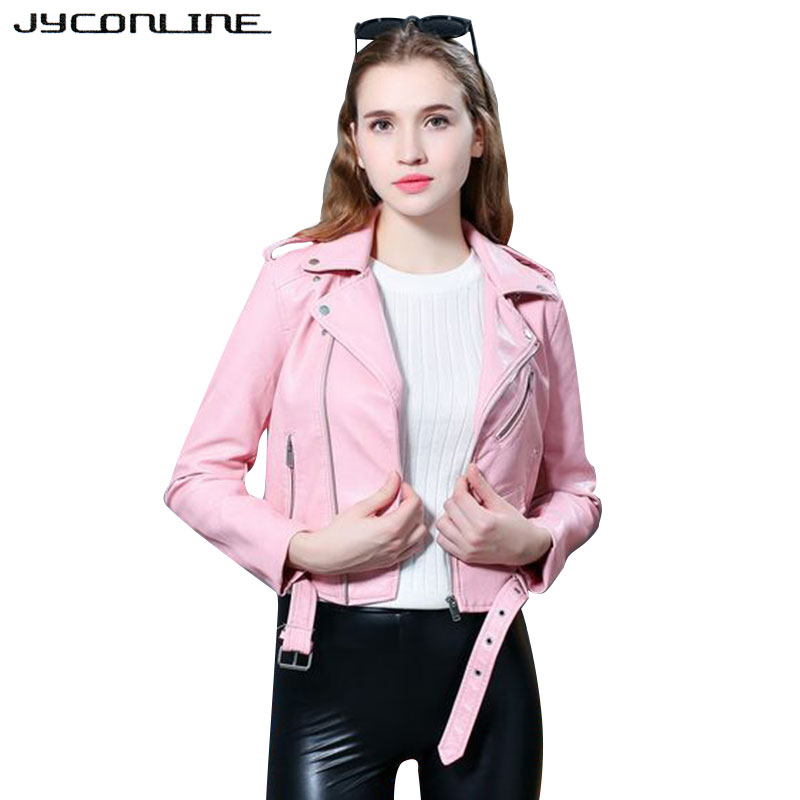 JYConline Fashion Faux Leather   Jacket   Women Motorcycle Zipper   Basic     Jacket   Women Coat Cool Outwear PU Leather Coat Female Winter