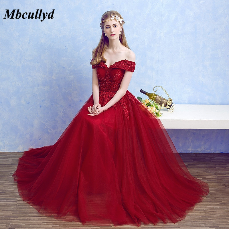 Mbcullyd Long Dark Red Bridesmaid Dress 2018 Long Floor Length Robe Demoiselle D'honneur Tulle And Lace Dress For Wedding Party
