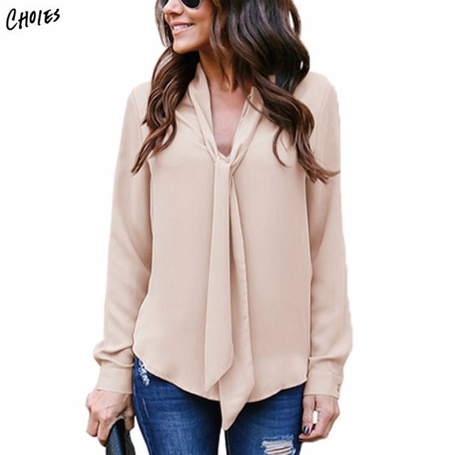 3e56d413dafb15 Khaki V-neck Tie Front Long Sleeve Blouse Blue Women Autumn Casual Fashion  Tops And Blouses Female Chiffon Blusa Tops Plus Size