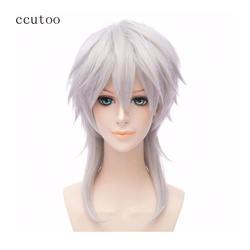 Ccutoo 45 см цвета: золотистый, серебристый серый средней длины синтетические парики вечерние Хэллоуин полные парики Touken Ranbu Online Tsurumaru Kuninaga