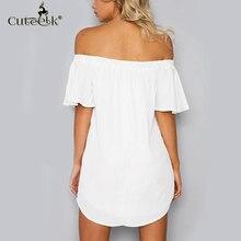 2017 Summer Dress Embroid Women Solid Slash Neck Dress ukraine Casual Sexy Beach Dresses Vestidos