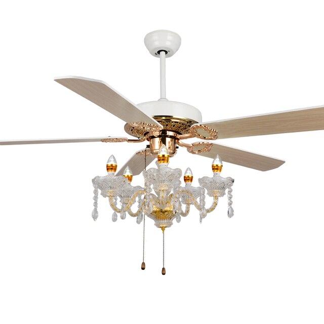 luxe kristal plafond ventilator verlichting kaars lichten moderne minimalistische mode ventilator licht plafond ventilator woonkamer eetkamer