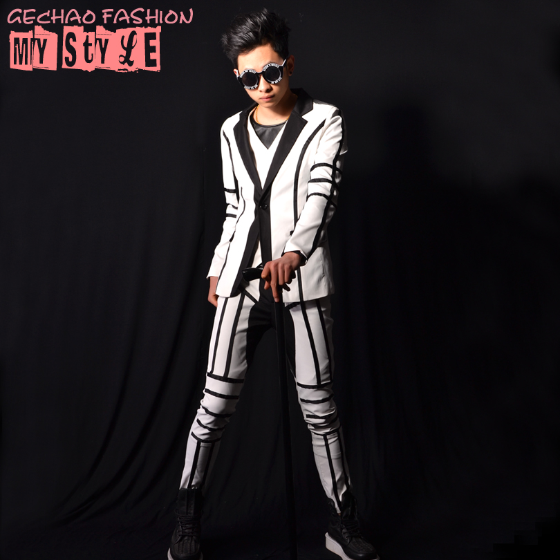 2019 new men's clothing hair stylist fashion suits catwalk DJDS GD white stitching suit nightclubstage singer costume