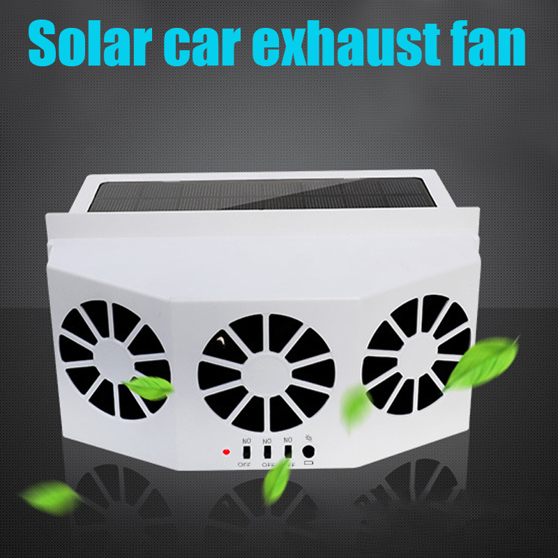 New Solar Powered Car Window Air Vent Ventilator Three-headed Fan Clear Car Smell Electrical Appliances CSL2018