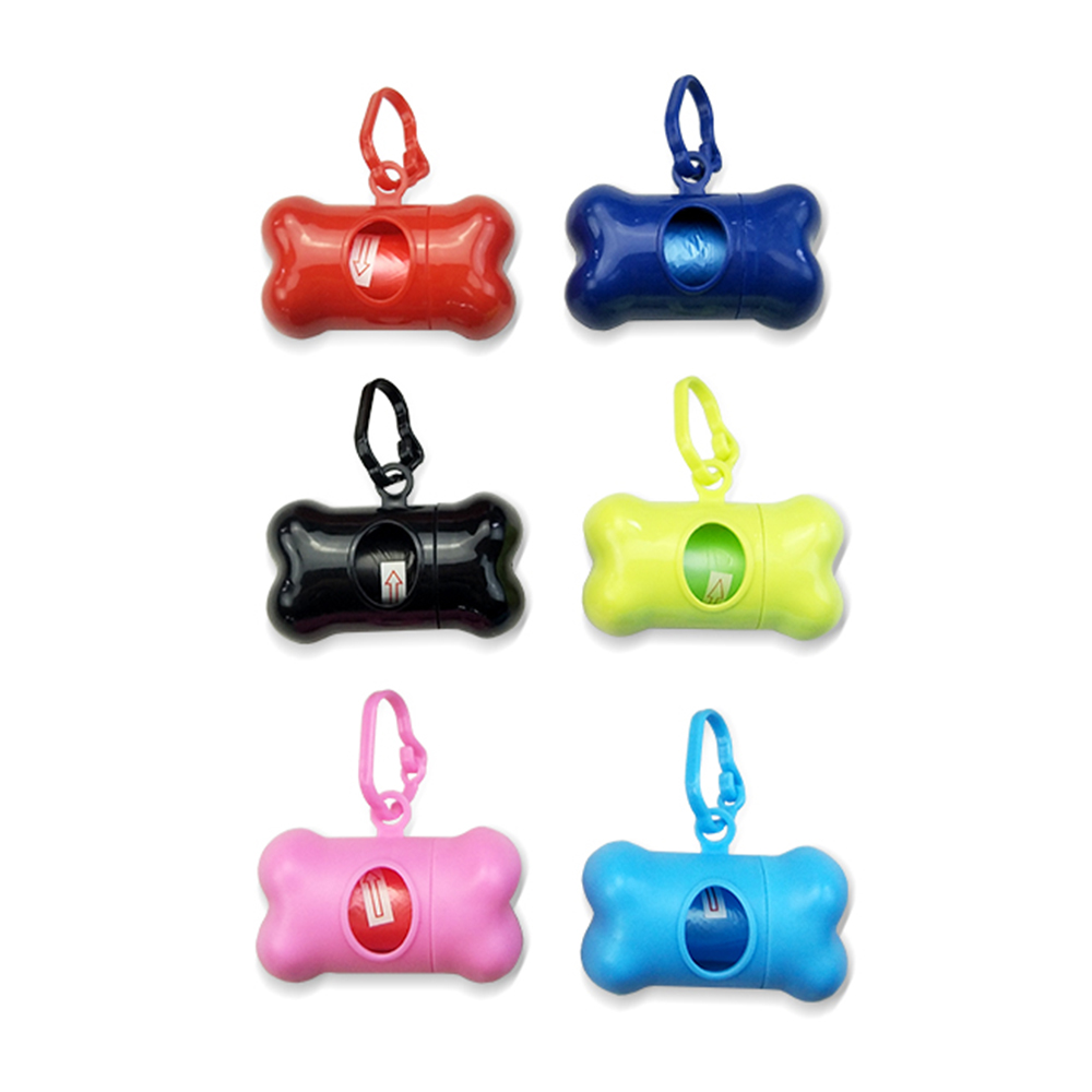 1pcs Dog Garbage Dispenser 15pcs Pet Waste Bags Portable Bone Type Dispenser Case Pet Dog Poop Bags For Dogs Outdoor Pet Supply