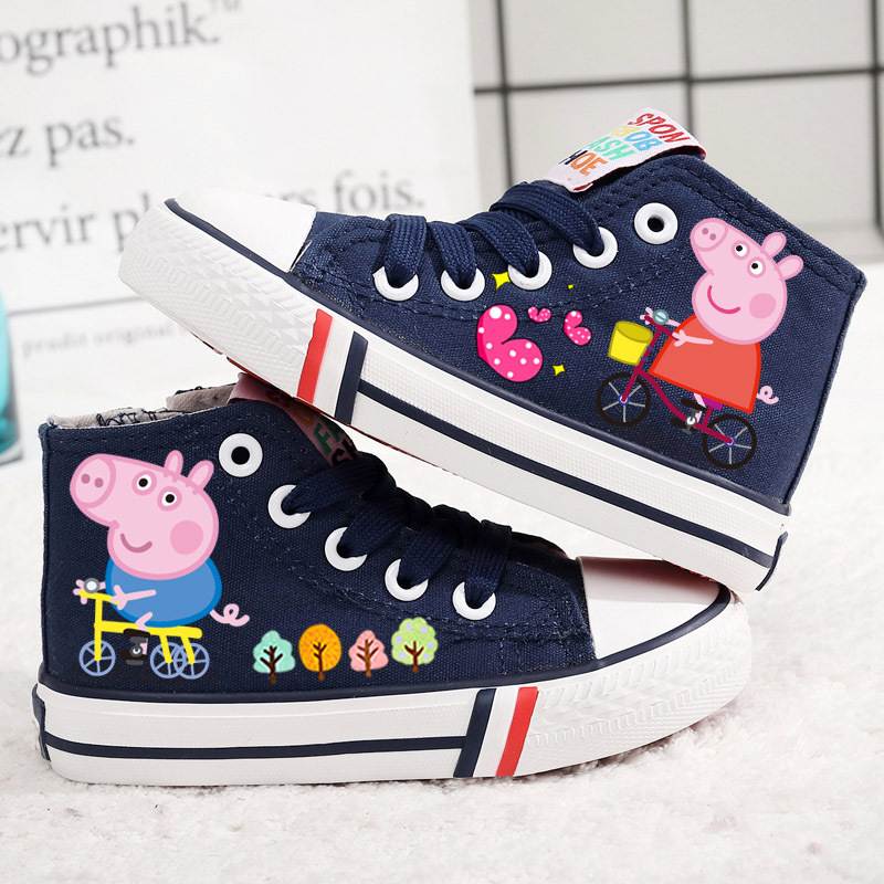 2018 della molla dei bambini scarpe di tela scarpe casual moda animale George pig scarpe per bambini ragazzi della scuola le ragazze buona alta scarpe