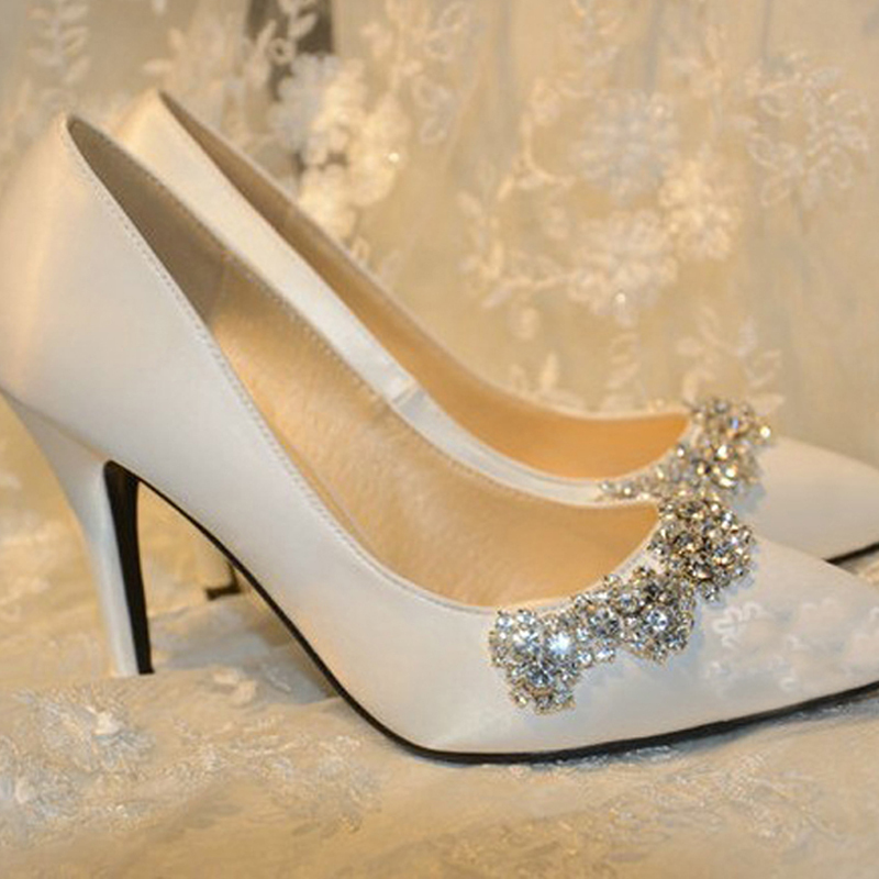 New Arrival Rhinestone Wedding Shoes White Satin Pointed Toe Bridal Round High Heel Gorgeous Party Prom In Womens Pumps From On
