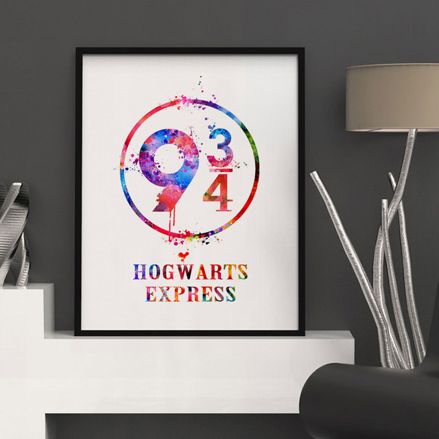 Harry Potter Platform 9 3/4 Watercolor Nursery Art Print Hogwarts Express Wall Hanging Inspiration Harry Potter Art Paper K93
