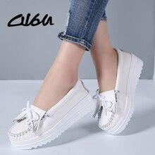 O16U 2018 Women Flat Platform Shoes Tassel Genuine Leather Moccains Ladies Shoes Fringe Knot Slip on Shallow Casual Shoes White