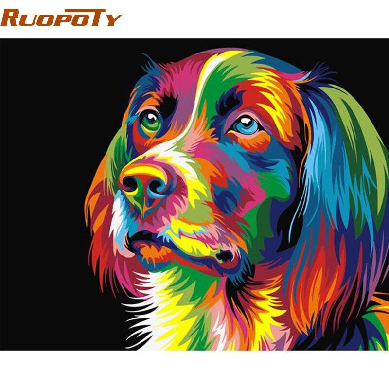RUOPOTY diy quadro Colorido Cão Pintura DIY Por Números Kits Pintados À Mão Pintura A Óleo Para A Decoração Da Casa de acrílico Caixa de Enviar 40x50 cm