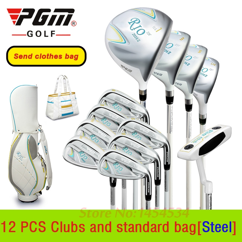 Send Clothes Bag! Lady Golf Complete 12PCS Club and Standard Bag PGM Genuine Lady Junior Scholars Exercise Rod Complete Clubs hot pgm golf bag golf clothes bag men