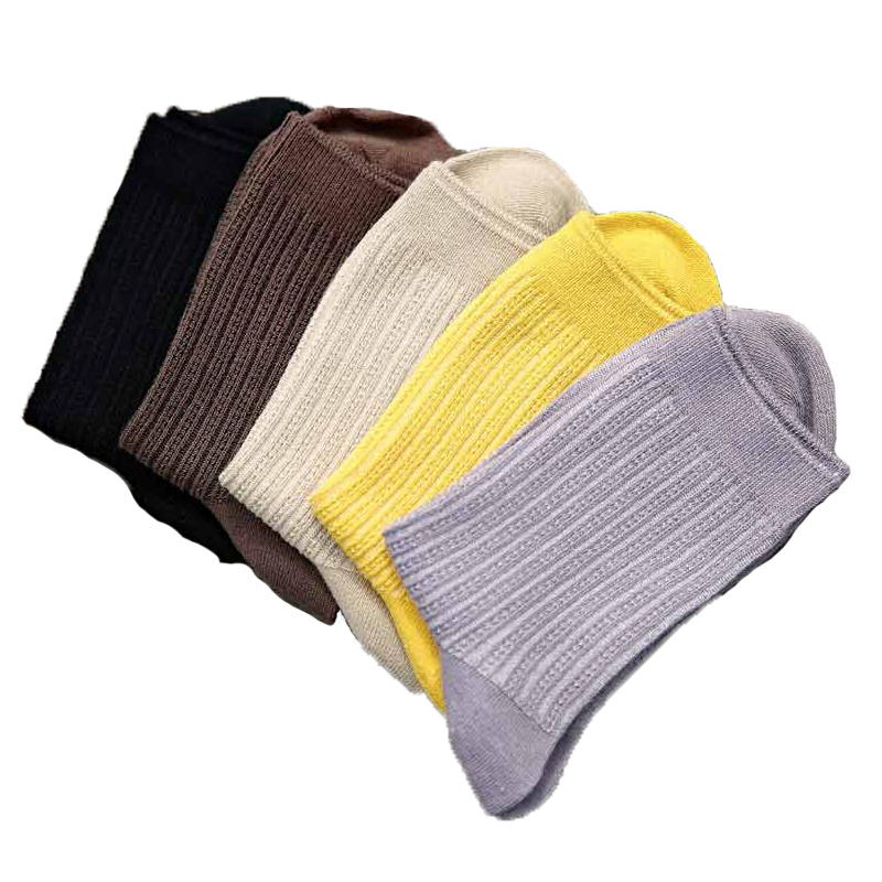 5Pairs/lot Brand Stripe Cotton & Bamboo Fiber Socks Classic Dress Business Mens Socks  Solid Color Mens Deodorant Socks
