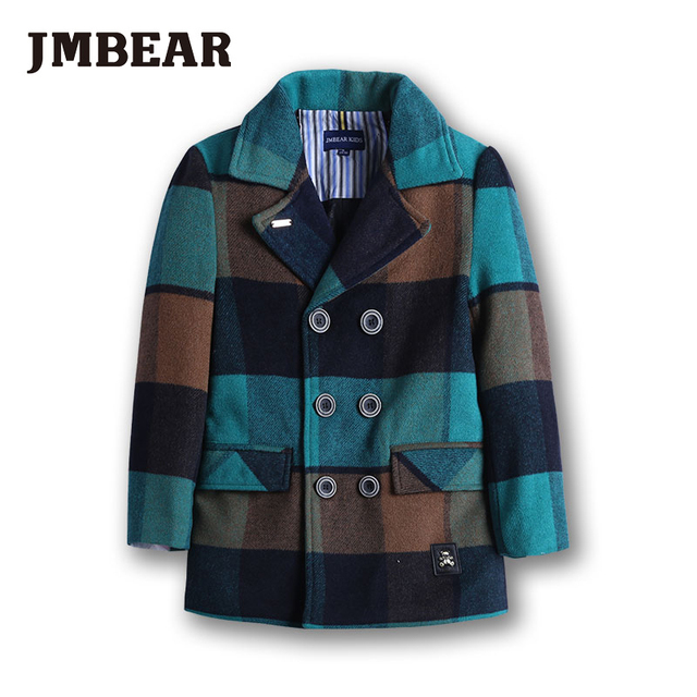JMBEAR boys woolen overcoat Children's clothing winter child outerwear wool thickening jacket cotton-padded 6-14 Y