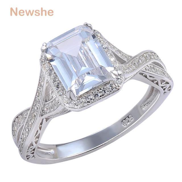 Newshe 925 Sterling srebrne wesele pierścienie 2.52 karatów AAA sześcienne cyrkonia pierścionek zaręczynowy dla kobiet rozmiar 9