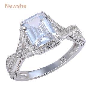 Image 1 - Newshe 925 prata esterlina anéis de casamento 2.52 quilates aaa zircônia cúbica anel de noivado para mulher tamanho 9