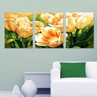 Yellow tulips flower Triptych canvas painting 3 sizes of painting by numbers home decoration wall pictures for living room H499