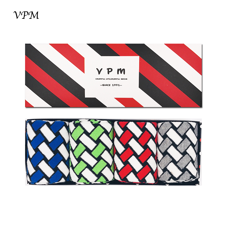 VPM Big Size Eu 40-47 Cotton Man Socks Colorful Oblique Lattice Stripe Compression Happy Socks Gift Box 4 Pairs/Lot