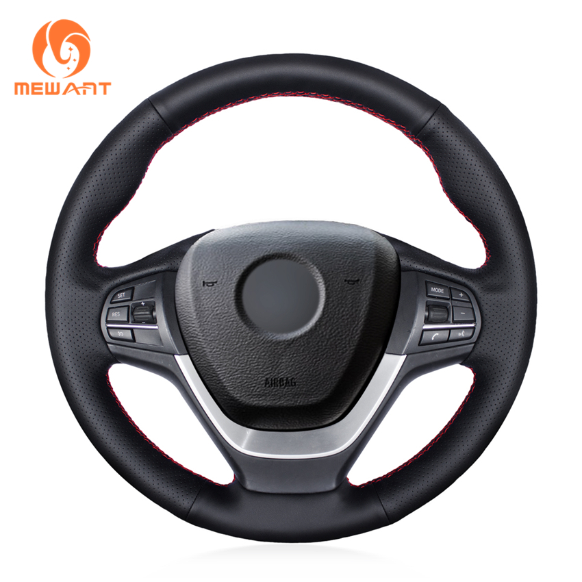 MEWANT Black Artificial Leather Car Steering Wheel Cover for BMW F25 X3 2011-2015 F26 X4 2014-2016 цена