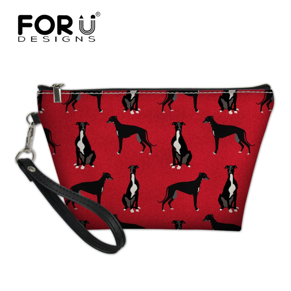 FORUDESIGNS Greyhound Black Pet Printing Women Makeup Bag For Girls Cosmetic Bag Portable Beauty Pouch Organizer Toiletry Kits