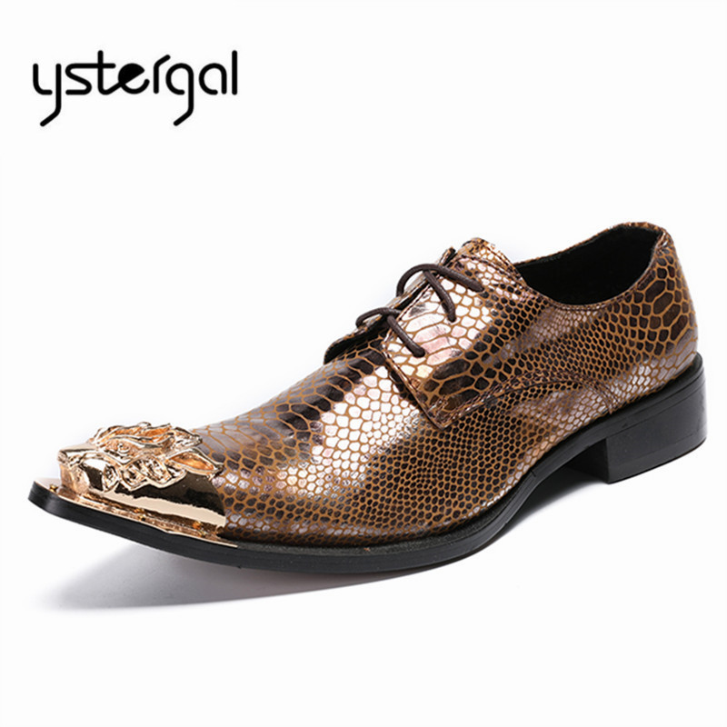 YSTERGAL Gold Metal Pointed Toe Men Leather Shoes Lace Up Mens Prom Wedding Shoe Business Formal Dress Flats Oxford Shoes new fashion men business office formal dress solid genuine leather shoes lace up pointed toe flats oxfords shoe spring autumn