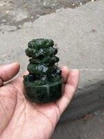 Rare He Tianjade Gree jade Lion seal Statue / Sculpture,Free shipping