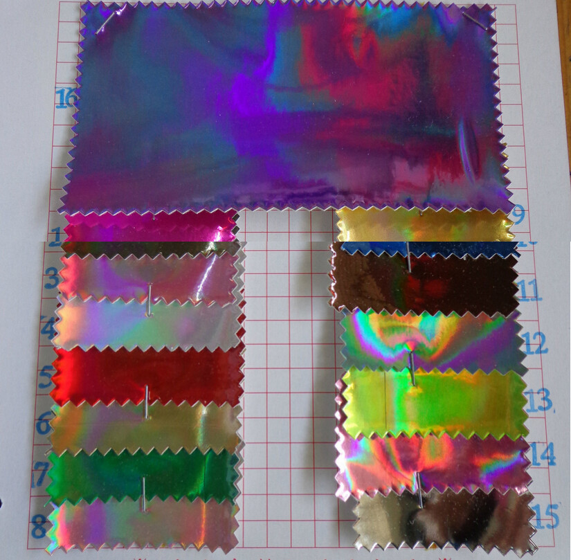 shiny scratch resistance laser PU Holographic rainbow leather fabric synthetic leather
