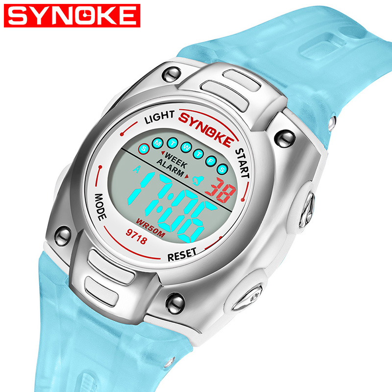Synoke Childrens Electronic Watch Back Light Alarm Boys Age Girls Multi Function Waterproof Student Sports Top Band Strap Watches