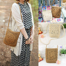 NoEnName US Bali Island Hand-Woven Rattan Bag Crossbody Crochet bags Summer Flower Beach Bag Shoulder Square Bags