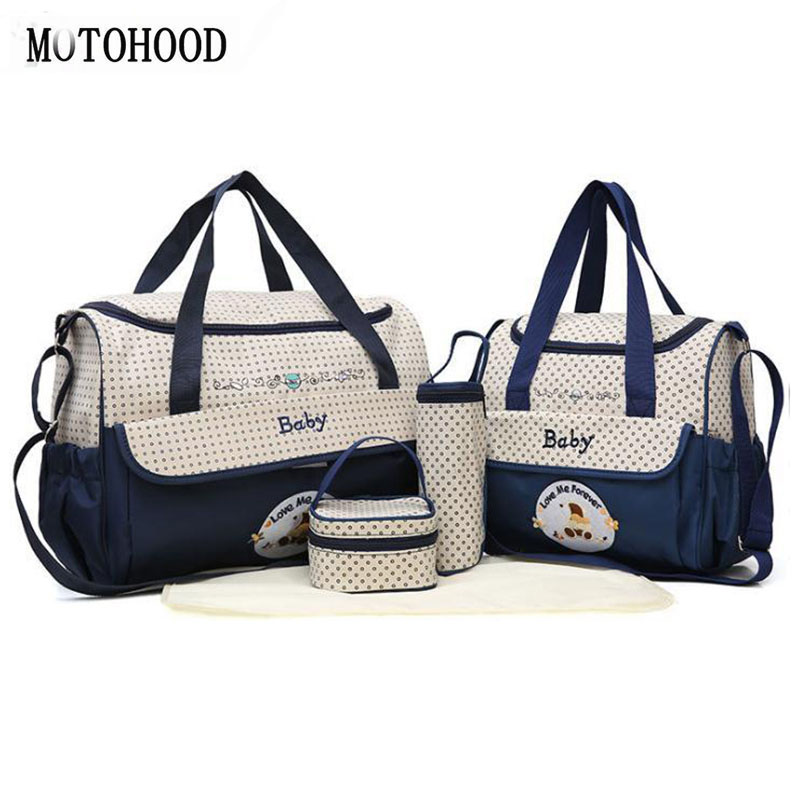 MOTOHOOD 38*18*30cm 5pcs Baby Diaper Bag Sets Changing Nappy Bag For Mom Multifunction Stroller Tote Bag Organizer