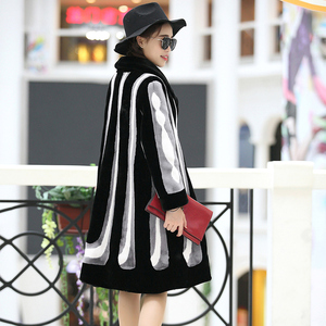 Nerazzurri Winter faux fur coat women long sleeve color block thick warm furry fake rex rabbit fur jacket plus size streetwear