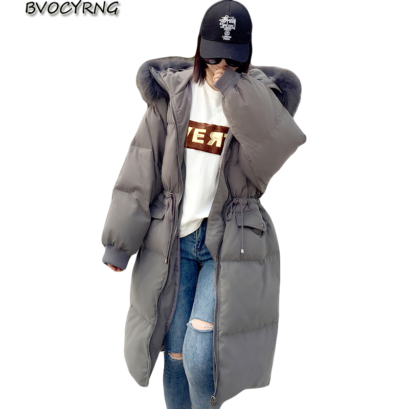 2017New Big yards Down Jacket Women Winter Thick Coat White Duck Down Loose Outerwear High Quality Heavy Hair Collar Long Parka