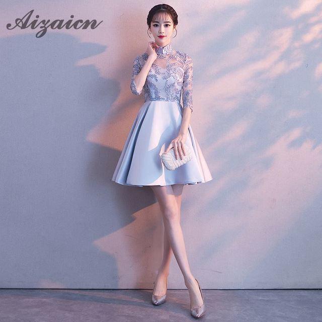 b75352a56 Vestido de noche de fiesta coreano de dama de honor gris plateado 2018  vestido tradicional chino