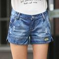 Весной и летом тонкие отверстия Леди джинсовые шорты женской Моды случайные свободные Старинные большой размер широкую ногу Женщины короткие Джинсы S2139