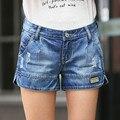 La primavera y el verano delgado agujero de la Señora pantalones cortos de mezclilla de Moda femenina de gran tamaño de La Vendimia floja ocasional pantalones anchos de la pierna de Las Mujeres Pantalones Vaqueros cortos S2139