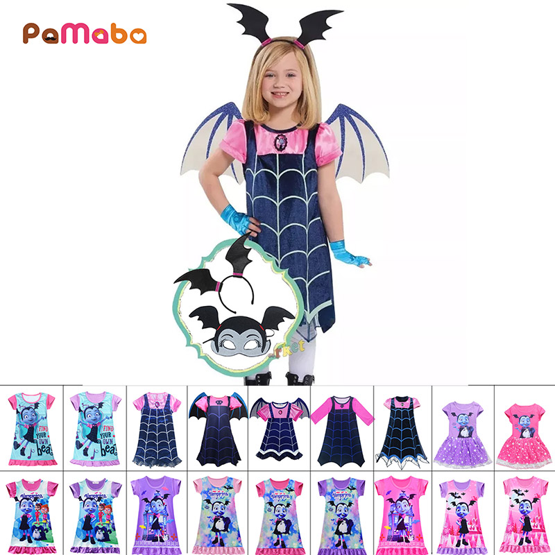 PaMaBa Kid Comic Con Vampirina Cosplay Costume Halloween Girl Party Dress With Wing Summer Frock Fancy Carnival Princess Clothes