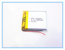 Free shipping 3.7V,650mAH,[453641] PLIB; polymer lithium ion / Li-ion battery for dvr,GPS,mp3,mp4,cell phone,speaker