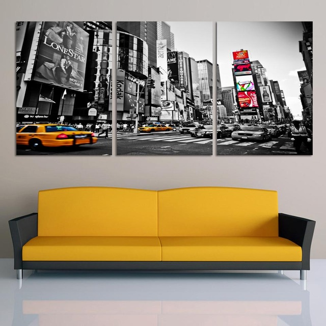 Fashion Home Decor Canvas 3 Pieces Wall Art Picture City Night Print ...