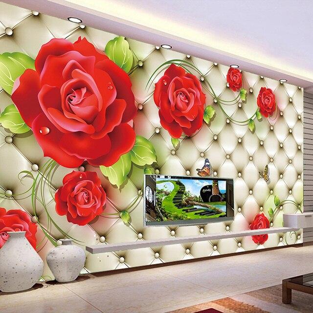 Custom Classic Photo Wallpaper 3D Embossed Soft Pack Red