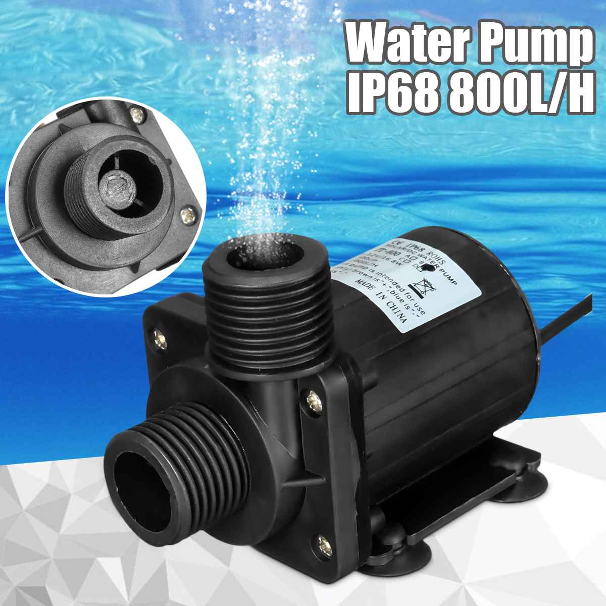 DC 12V 5M 800L/H Portable Mini Brushless Motor Ultra-quiet Submersible Water Pump for Cooling System Fountains Heater PressureDC 12V 5M 800L/H Portable Mini Brushless Motor Ultra-quiet Submersible Water Pump for Cooling System Fountains Heater Pressure