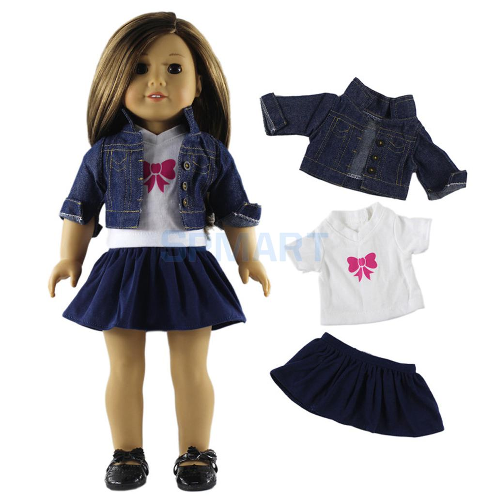 Fancy Jeans Shirt Tops Pleated Dress Suit Clothes for 18 American Girl Our Generation Do ...