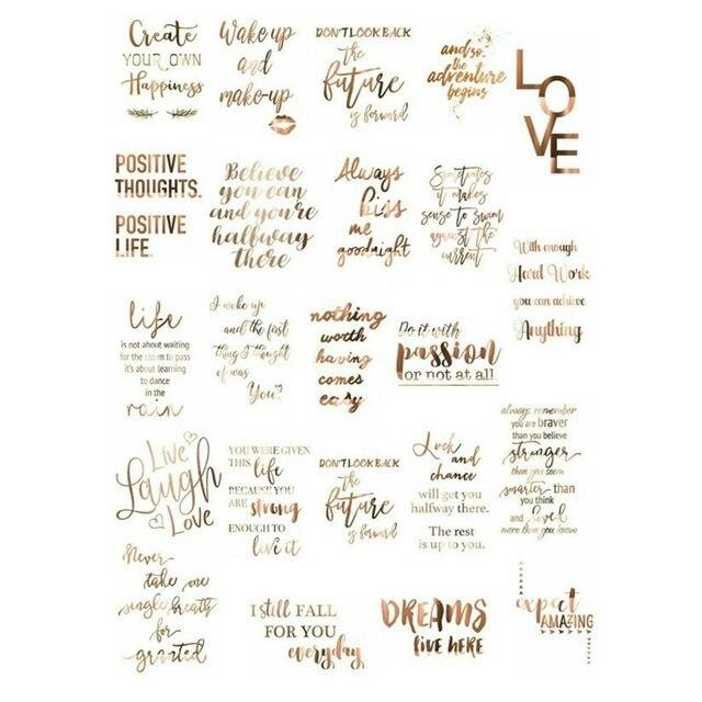 2 piezas Pastel oro letra gracias palabras Deco álbum de recortes bala diario papelería pegatinas estéticas planificador manualidades suministros vv