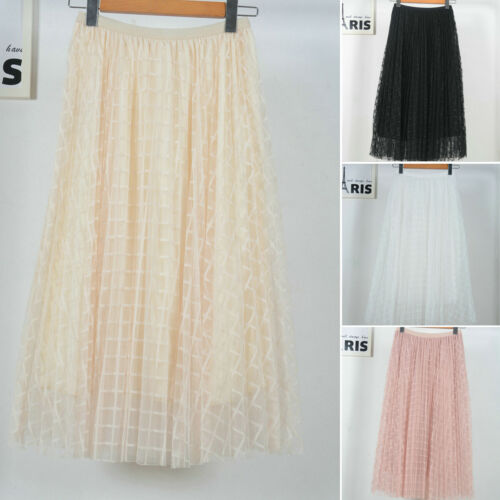 Summer Women Pleated Skirts 2019 New Women Summer Casual Stretch High Waist Plaid Pleated Tulle Skirts in Skirts from Women 39 s Clothing